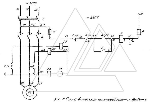 В случае перегрузки срабатывает максимальное реле РТ, контактом которого разрывается цепь контактора Л. 2)...