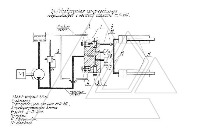 3.4. Гидравлическая схема соединения гидроцилиндров с насосной станцией НСП-400.  3.4.1. Данную схему рассматривать...